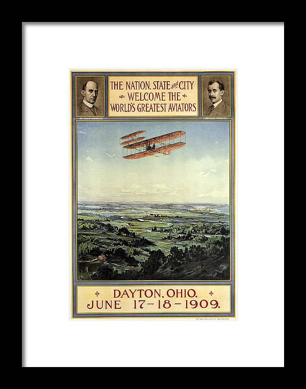 Dayton Framed Print featuring the mixed media Wright Brothers - World's Greatest Aviators - Dayton, Ohio - Retro Travel Poster - Vintage Poster by Studio Grafiikka