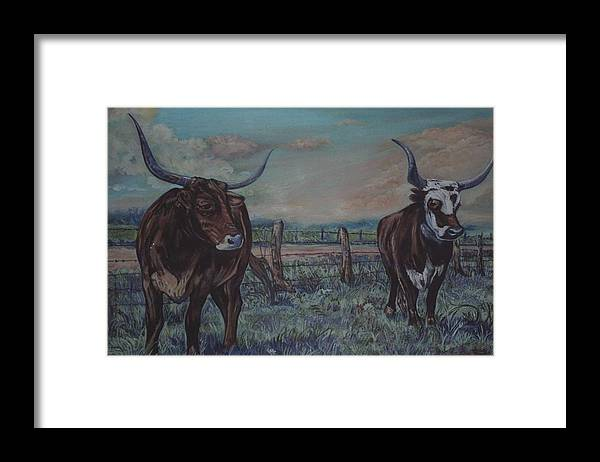 Animals Framed Print featuring the painting Wright Longhorns by Diann Baggett