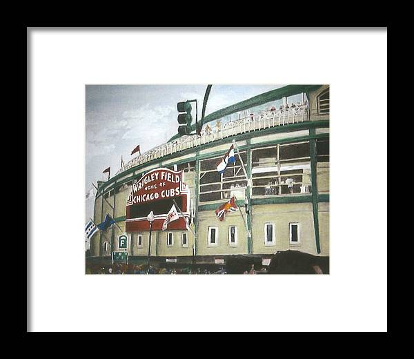 Wrigley Field Framed Print featuring the painting Wrigley Field by Travis Day