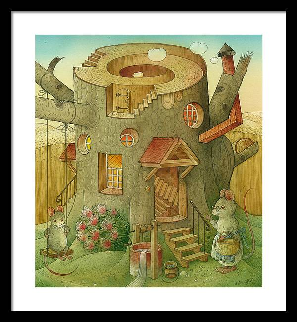 Landscape Mouse Mystique House Tree Framed Print featuring the painting Wrong World by Kestutis Kasparavicius