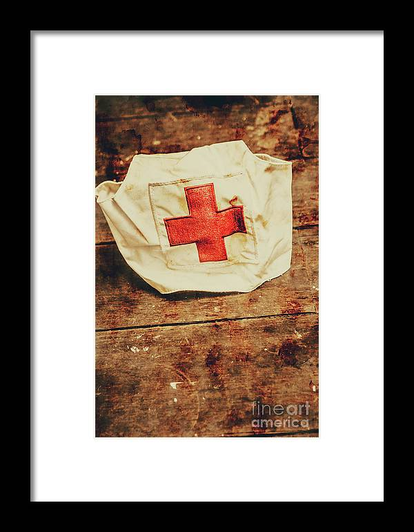 Vintage Framed Print featuring the photograph Ww2 Nurse Hat. Army Medical Corps by Jorgo Photography - Wall Art Gallery
