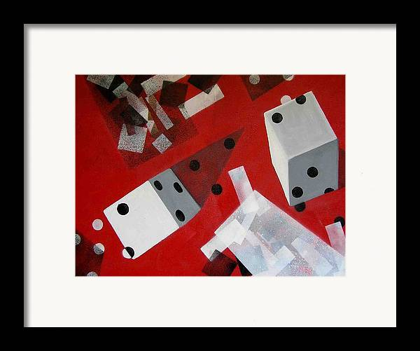 Dice Framed Print featuring the painting Wwhite Dice With Runaway Dots by Evguenia Men