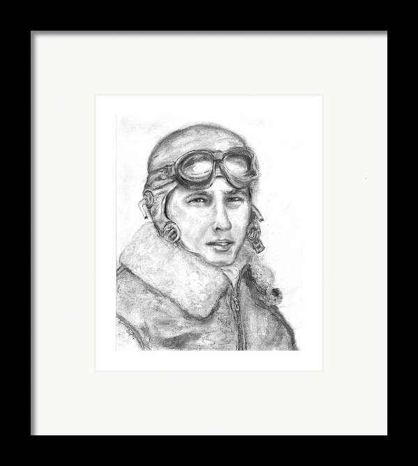 Portrait Of A World War Ii Framed Print featuring the painting Wwii B17 Gunner by Suzanne Reynolds