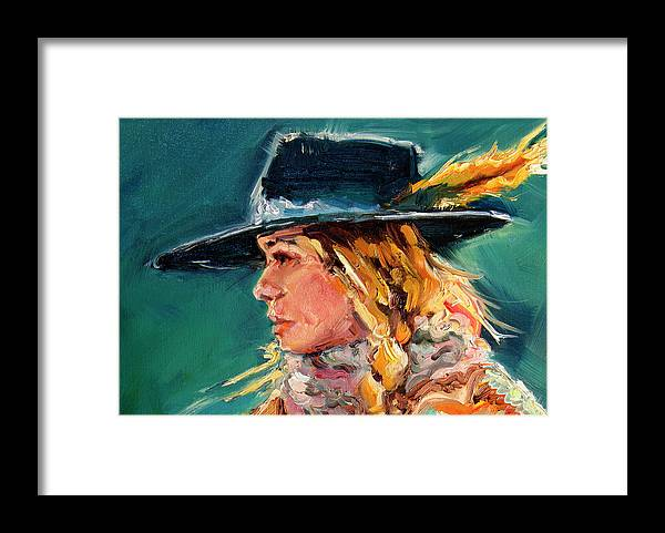 Cowgirl Framed Print featuring the painting Wyoming Cowgirl Close by Diane Whitehead