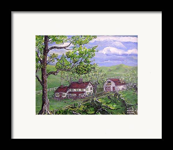 Landscape Framed Print featuring the painting Wyoming Homestead by Phyllis Mae Richardson Fisher