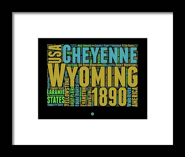 Wyoming Framed Print featuring the digital art Wyoming Word Cloud Map 1 by Naxart Studio