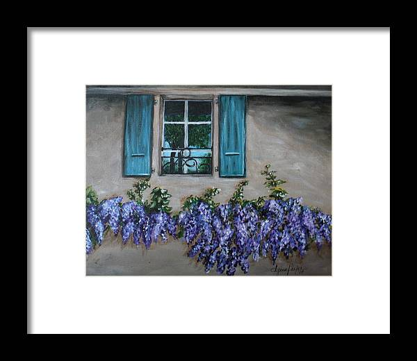 Floral Framed Print featuring the painting Wysteria View by Dyanne Parker
