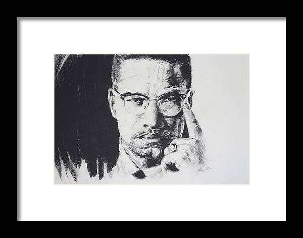 Malcolm X Framed Print featuring the drawing X by Brandon Coley