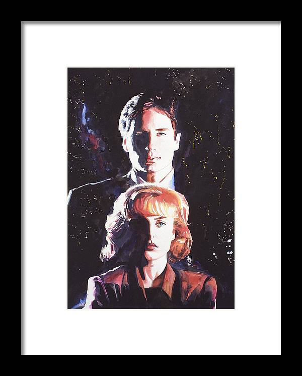 Television Framed Print featuring the painting X-Files by Ken Meyer jr