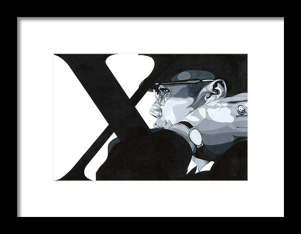 Grey Scale Framed Print featuring the drawing X by Lamark Crosby
