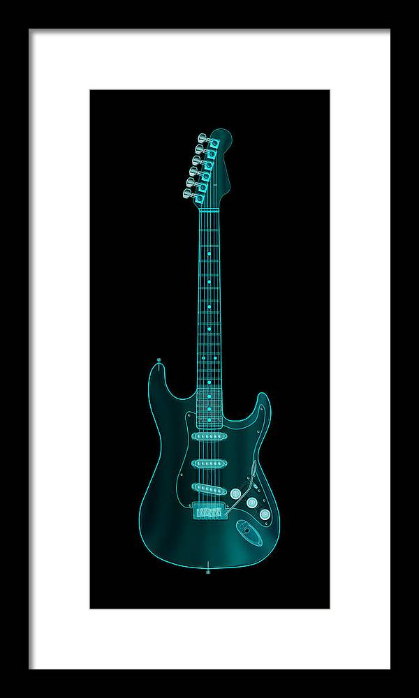 electric Guitar Framed Print featuring the digital art X-Ray Electric Guitar by Michael Tompsett