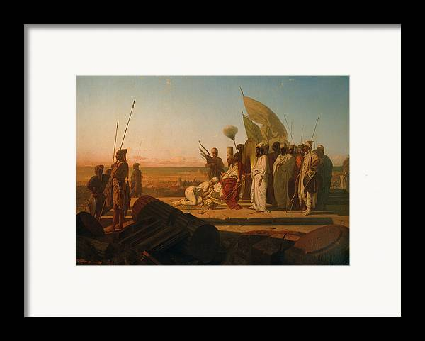 Xerxes At The Hellespont (oil On Canvas) By Jean Adrien Guignet (1816-54) Framed Print featuring the painting Xerxes At The Hellespont by Jean Adrien Guignet