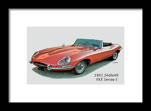 Jaguar Framed Print featuring the digital art XKE by Larry Linton