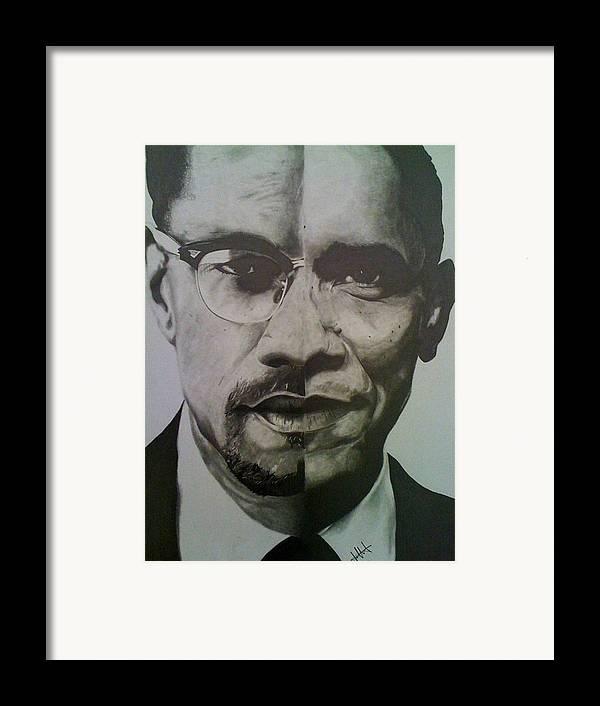Barack Obama Framed Print featuring the drawing Xobama by Jane Nwagbo