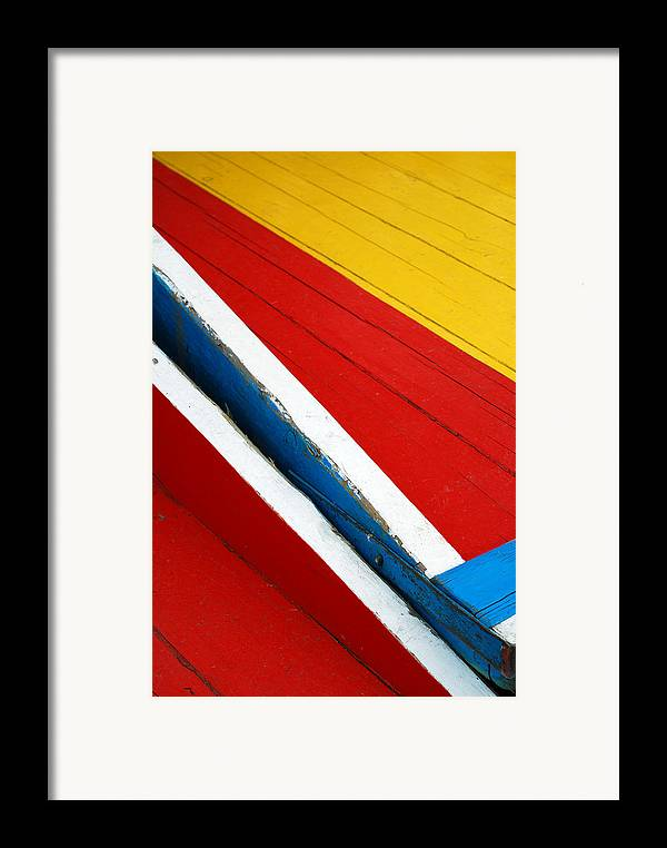 Red Framed Print featuring the photograph Xochimilco Boat Abstract 1 by Skip Hunt