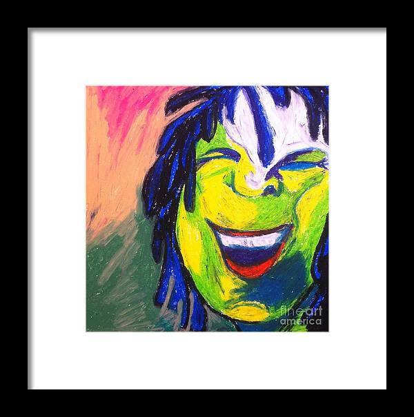 Smile Framed Print featuring the pastel Xolani Peace by Alma Trebeau