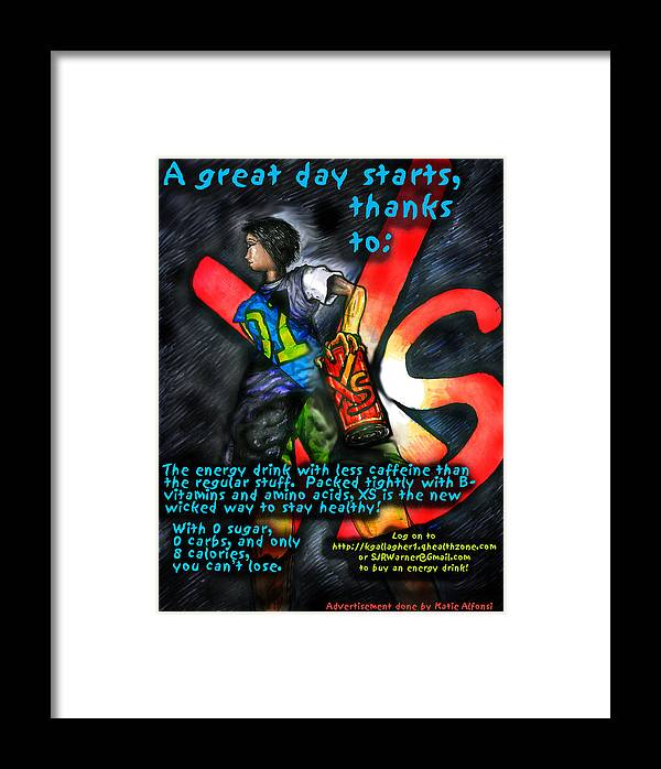 Xs Energy Drink Framed Print featuring the digital art Xs Advertisement by Katie Alfonsi