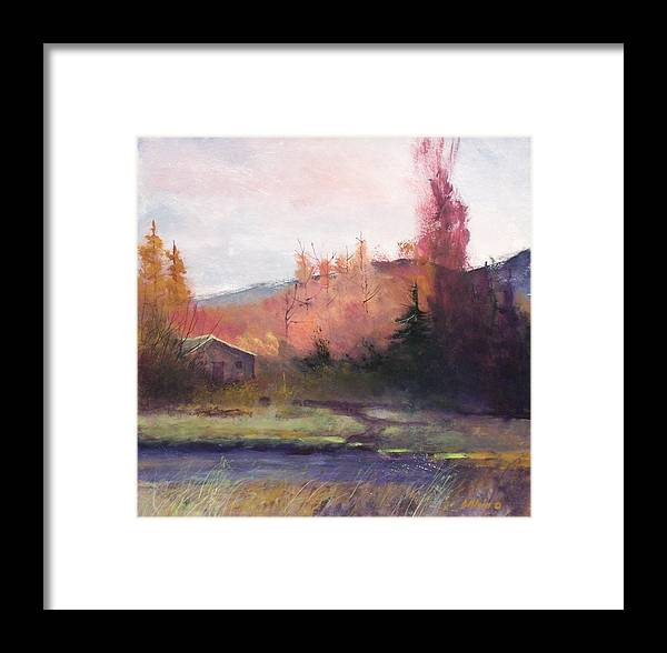 Landscape Framed Print featuring the painting Yaak Cabin by Dalas Klein