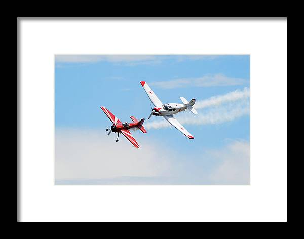Airplanes Framed Print featuring the photograph Yak 55 And Yak 18 by Larry Keahey