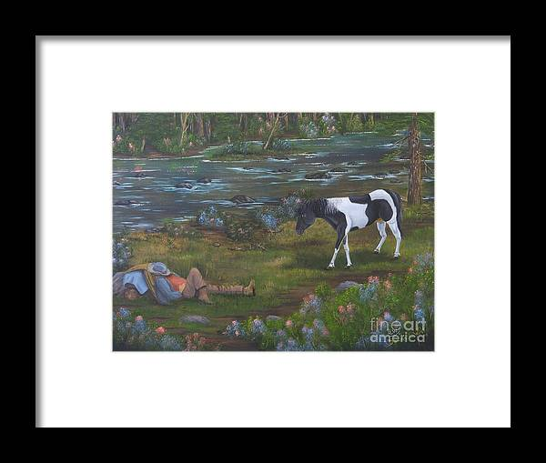 Cowboy Framed Print featuring the painting Yankee And The Rebel by Duane West