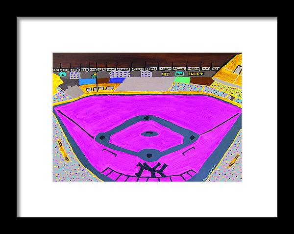 Yankee Stadium Framed Print featuring the painting Yankee Stadium by Jeff Caturano