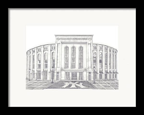 Yankee Stadium Framed Print featuring the drawing Yankee Stadium by Juliana Dube