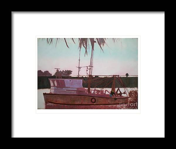 Seascape Framed Print featuring the digital art Yankee Town Fishing Boat by Hal Newhouser