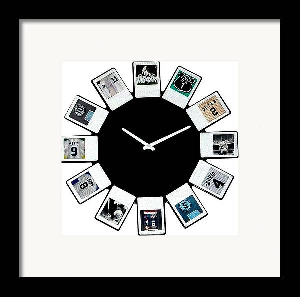 New York Framed Print featuring the mixed media yankees Clock by Paul Van Scott