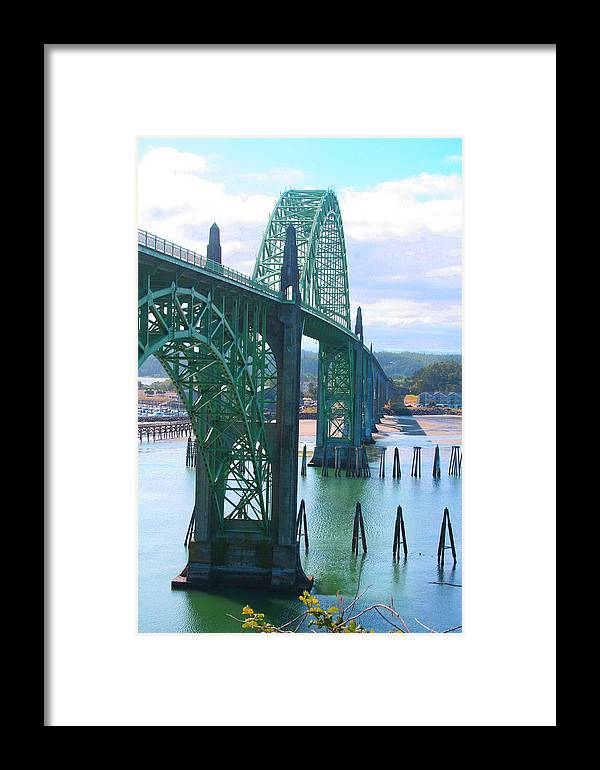 Yaquina Bay Framed Print featuring the photograph Yaquina Bay Bridge Br-9002 by Mary Gaines