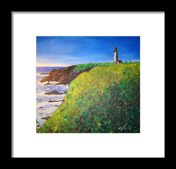 Lighthouse Framed Print featuring the painting Yaquina Head Light by Phil Cashdollar