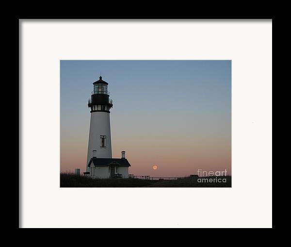 Lighthouse Framed Print featuring the photograph Yaquina Head Lighthouse At Dawn by Juli House