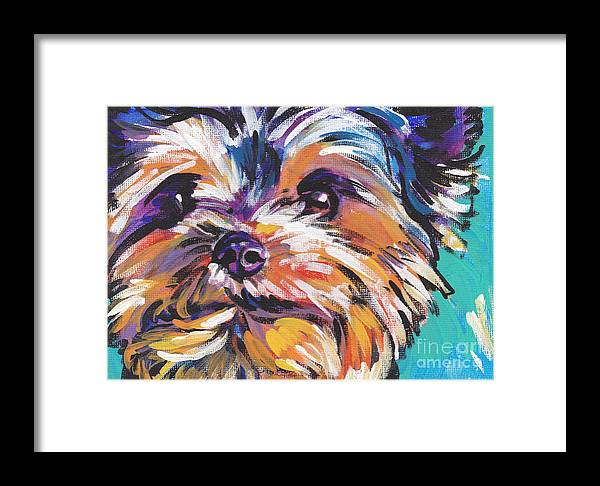 Yorkshire Terrier Framed Print featuring the painting Yay Yorkie by Lea S