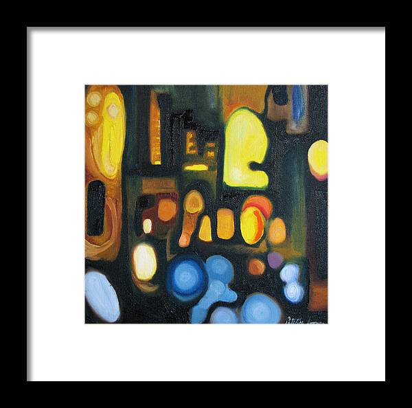 Abstract Framed Print featuring the painting Yellow And Blue by Patricia Arroyo