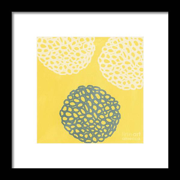 Yellow Framed Print featuring the painting Yellow and Gray Garden Bloom by Linda Woods