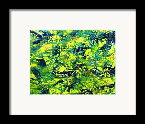 Abstract Framed Print featuring the painting Yellow And Green by Guillermo Mason