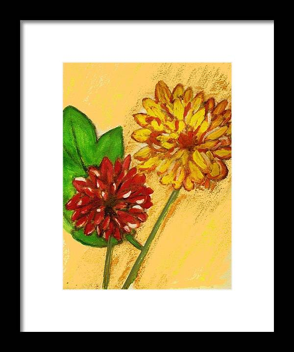 Flowers Framed Print featuring the painting Yellow And Red Chrysanthemums by Joseph Ferguson