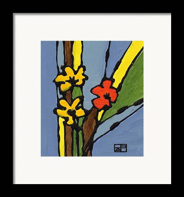 Flowers Framed Print featuring the painting Yellow And Red Flower by Helen Pisarek