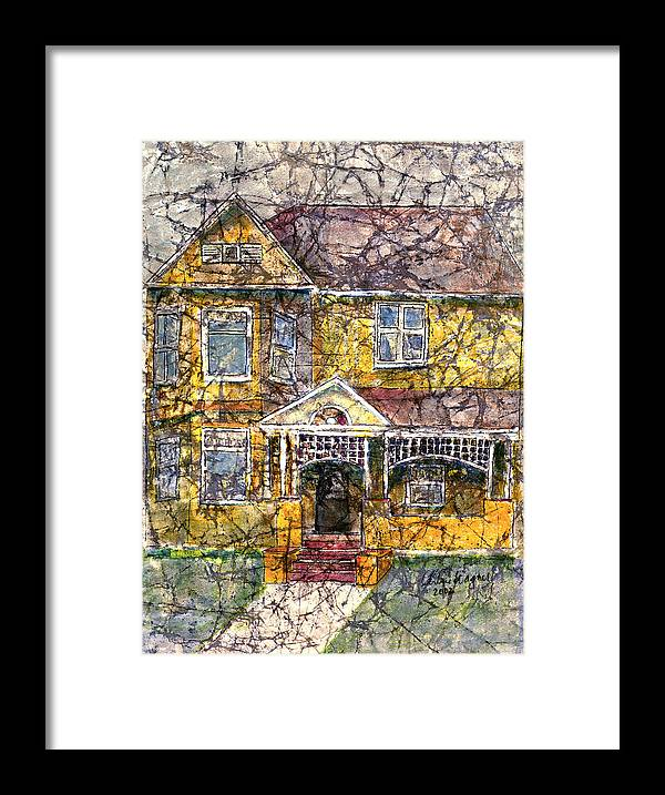 House Framed Print featuring the mixed media Yellow Batik House by Arline Wagner