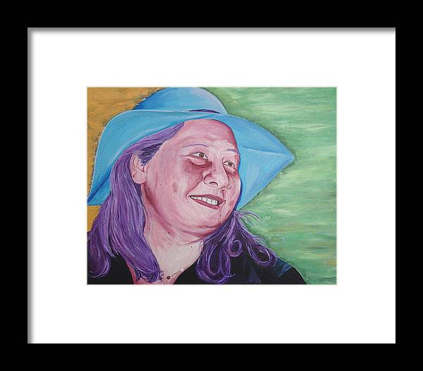 Portrait Framed Print featuring the painting Yellow Blue Green Christine by Kevin Callahan