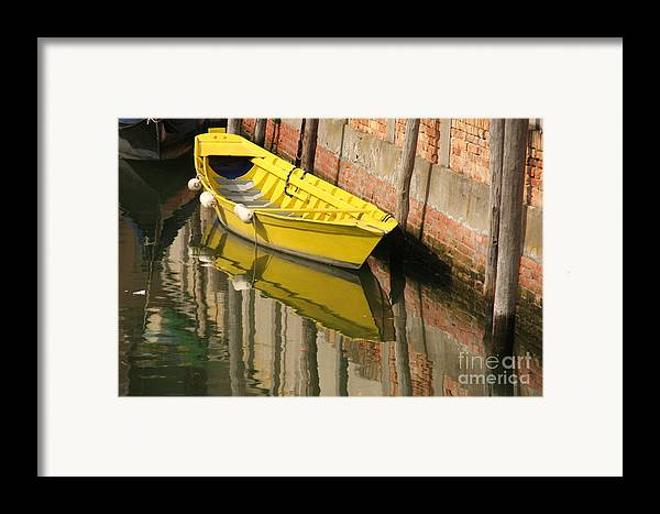 Venice Framed Print featuring the photograph Yellow Boat In Venice by Michael Henderson
