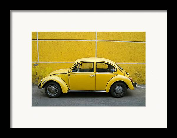 Yellow Framed Print featuring the photograph Yellow Bug by Skip Hunt