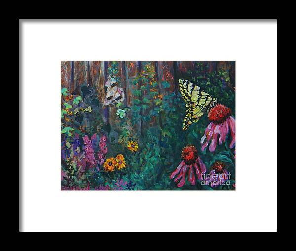 Butterfly Painting Framed Print featuring the painting Yellow Butterfly Perched by Emily Michaud