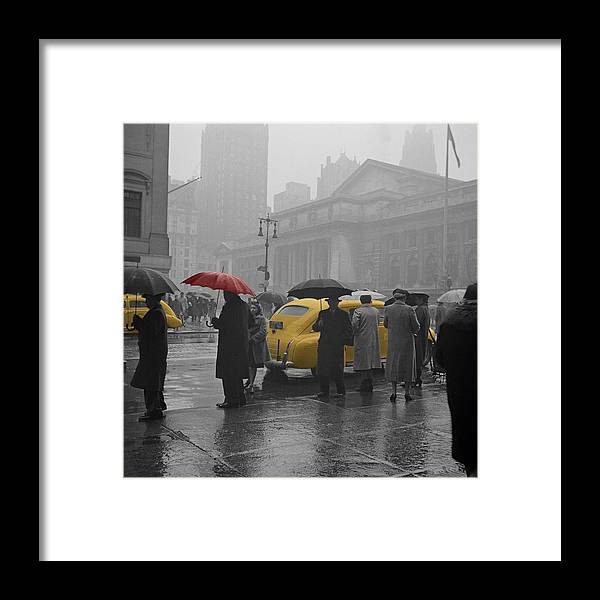 Times Square Framed Print featuring the photograph Yellow Cabs New York 3 by Andrew Fare