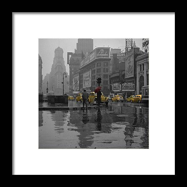 Times Square Framed Print featuring the photograph Yellow Cabs New York by Andrew Fare