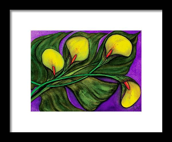 Calalilies Framed Print featuring the painting Yellow Calalilies by Stephanie Jolley