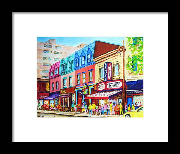 Reastarant Framed Print featuring the painting Yellow Car At The Smoked Meat Lineup by Carole Spandau