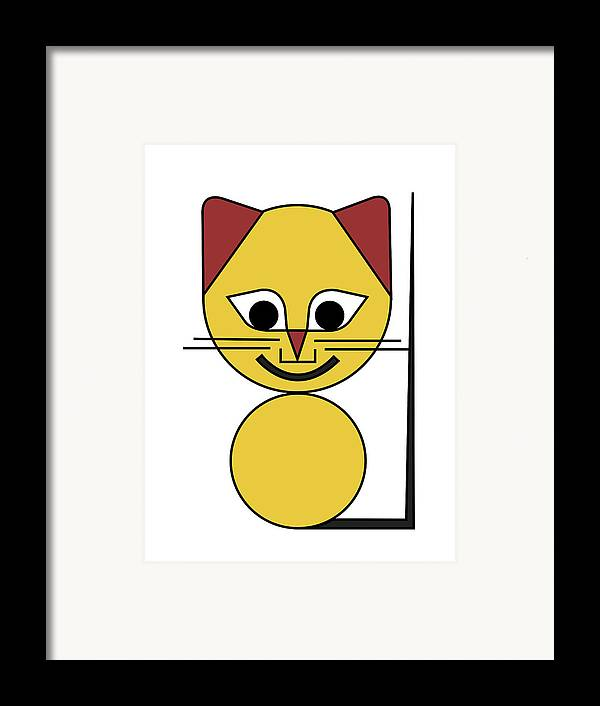 Cat Framed Print featuring the digital art Yellow Cat by Asbjorn Lonvig
