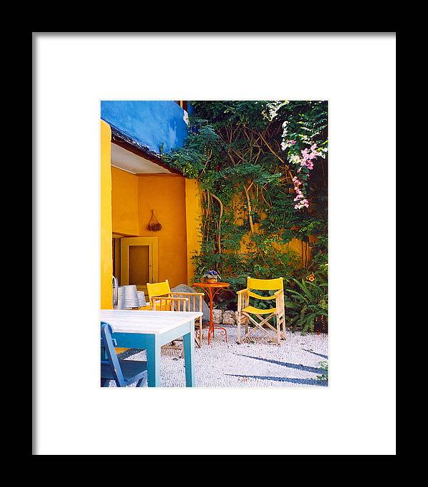 Rhodes Framed Print featuring the photograph Yellow Chairs by Andrea Simon