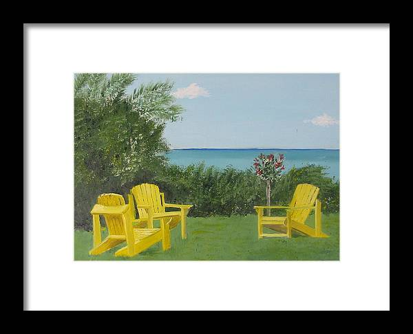 Seascape Framed Print featuring the painting Yellow Chairs At Blue Mountain Beach by John Terry