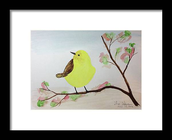 Watercolor Painting Framed Print featuring the painting Yellow Chickadee On A Branch by M Valeriano